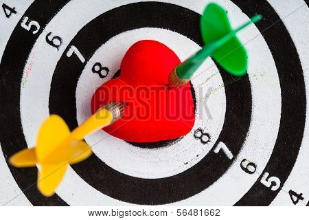 Black White Target With Two Darts In Heart Love Symbol As Bullseye