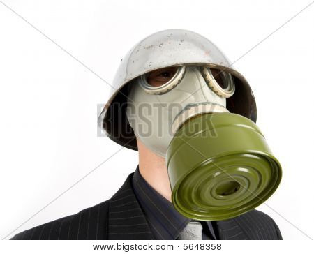 The Businessman In A Gas Mask
