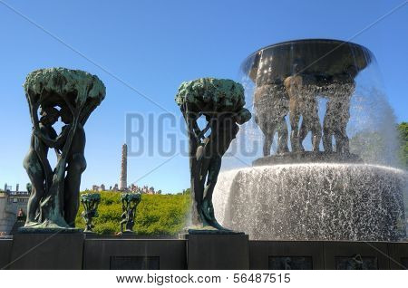 OSLO - JULY 16: Sculptures at the Vigeland Park July 16, 2009 in Oslo, Norway