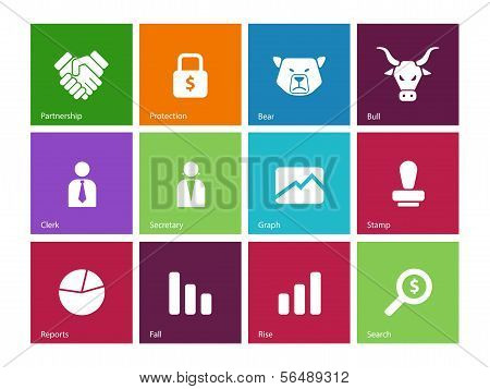 Finance icons on color background.
