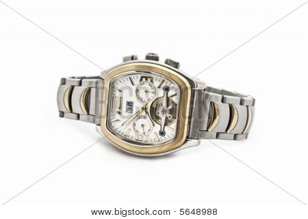 The Swiss Solid Men's Watch On A White Background