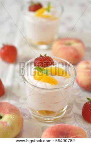 creamy strawberry and peach desserts