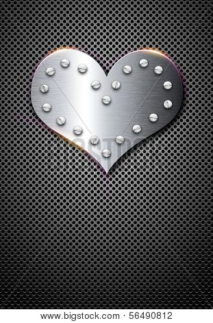 Metal Valentine Background With Chrome Heart