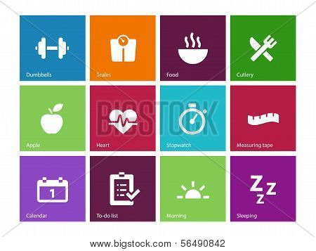 Fitness icons on color background.