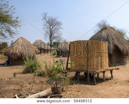 Local village in South Luangwa National Park, Zambia, Africa