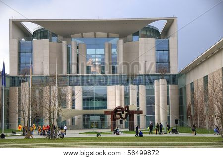BERLIN - MAY 16: Exterior of the The German Chancellery  May 16, 2009 in Berlin, Germany