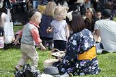 Children Visit Brooklyn Botanic Garden For Cherry Blossom Festival