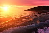 stock photo of yugoslavia  - Sunset on the Croatian coast  - JPG