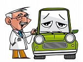 picture of auscultation  - Isolated  illustration Doc mechanic auscultating the automobile - JPG