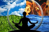 stock photo of calming  - Female yoga figure in a transparent sphere composed of four natural elements  - JPG