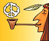 image of peace-pipe  - cartoon vector illustration of indian smoking pipe of peace - JPG