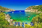 foto of greeks  - turquoise beaches of Rhodes - JPG