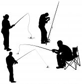 stock photo of fishing bobber  - set of silhouettes of fishermen - JPG