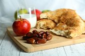 stock photo of flat-bread  - Conceptual photo of Ramadan table - JPG