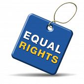stock photo of equality  - equal rights and opportunities for all women man disabled black and white solidarity discrimination of people with disability or physical and mental handicap - JPG