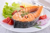 image of salmon steak  - grilled salmon steak - JPG