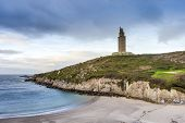 stock photo of hercules  - Lapas Beach near the Tower of Hercules in A Coruna Galicia Spain - JPG