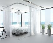 foto of household  - A 3D rendering of white bedroom interior with large bed - JPG