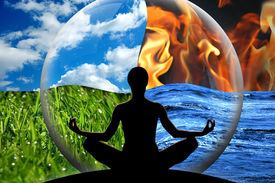 picture of four  - Female yoga figure in a transparent sphere composed of four natural elements  - JPG