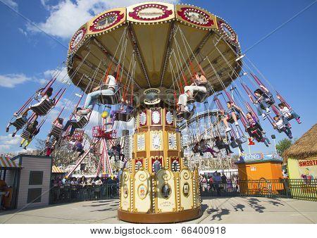 Lynn s Trapeze swing carousel in Coney Island Luna Park