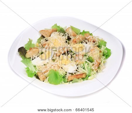 Caesar salad with eggs and parmesan.