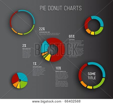 Colorful Vector Donut pie chart templates for your reports, infographics, posters and websites