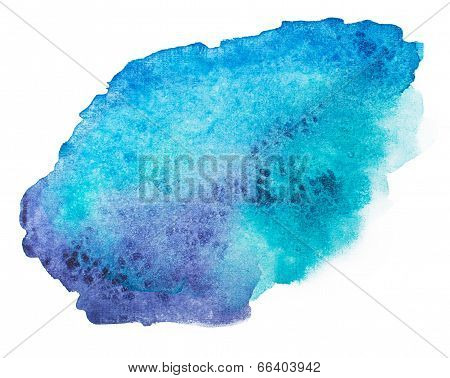 Abstract blue watercolor, aquarelle art hand draw paint on white background