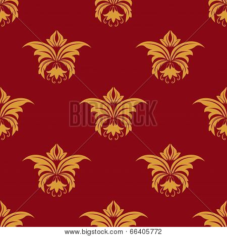 Maroon and yellow seamless floral pattern