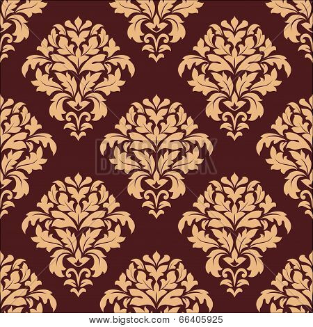 Beige and maroon seamless damask pattern