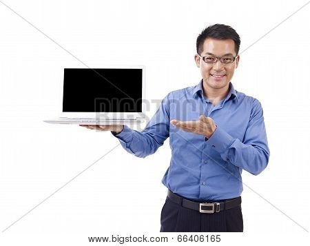 Asian Businessman And Laptop