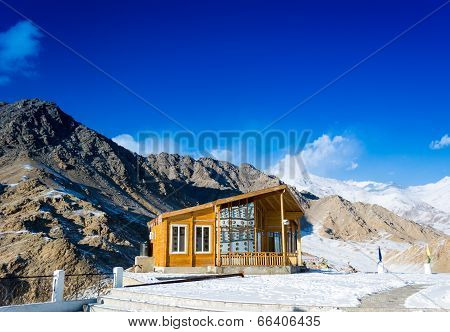 Wooden cottage on the mountain