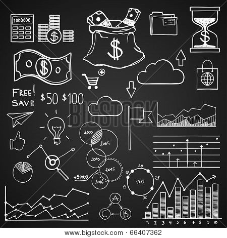 Hand draw doodle elements money and coin icon, chart graph. Concept bank business finance analytics