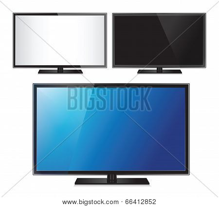 Set of three TV flat screen lcd, plasma realistic vector illustration.