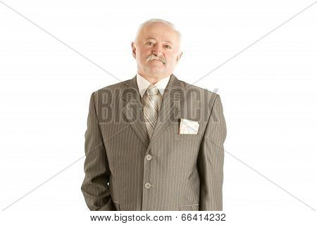 Elderly male businessman in suit