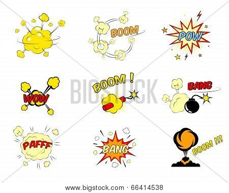 Set of comic cartoon text explosions