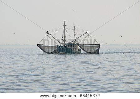 Trawler in the wadden Sea