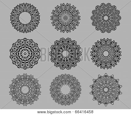 Circular ornate Celtic ornaments
