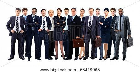 Large group of people full length isolated on white