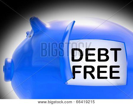 Debt Free Piggy Bank Coins Means Money Paid Off