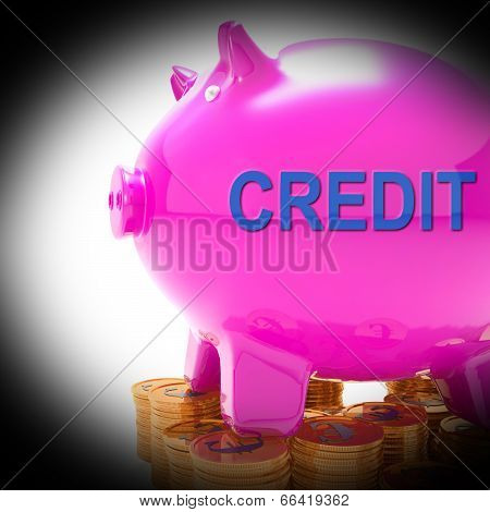 Credit Piggy Bank Coins Means Financing From Creditors