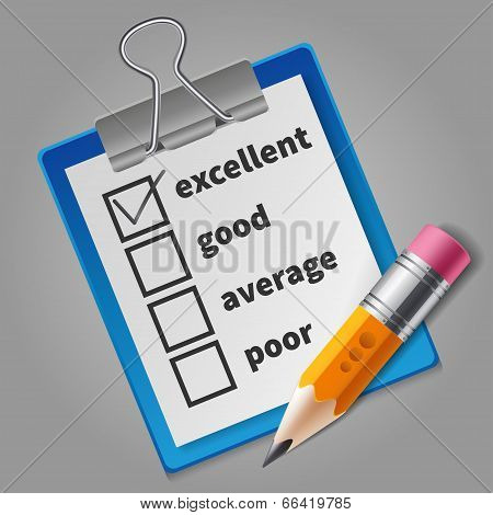 Orange pencil and blue checklist