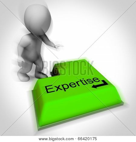 Expertise Keyboard Shows Specialist Knowledge And Proficiency