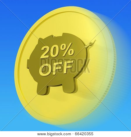 Twenty Percent Off Gold Coin