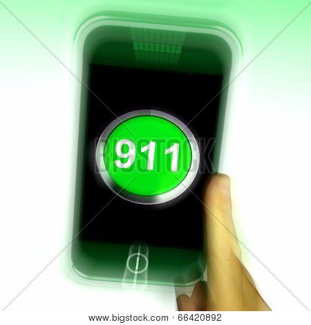 Nine One On Mobile Phone Shows Call Emergency Help Rescue 911
