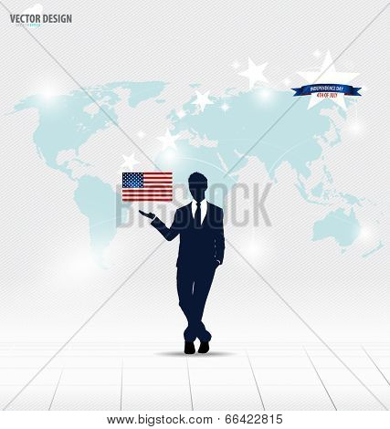 Happy independence day, 4th of July. Businessman showing American Flag. Vector illustration.