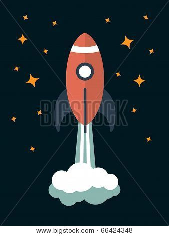 vector modern rocket illustration
