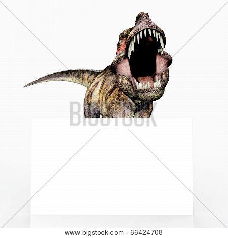 Tyrannosaurus Rex with Advertising Sign