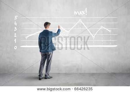 businessman drawind growth chart and arrow on the wall