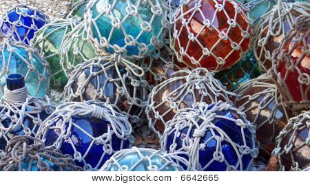 Glass Fishing Floats With Netting