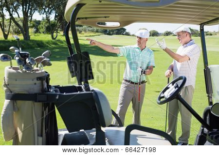 Golfing friends standing beside their buggy looking around on a sunny day at the golf course